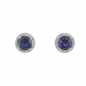 White Gold Diamond and Iolite Studs